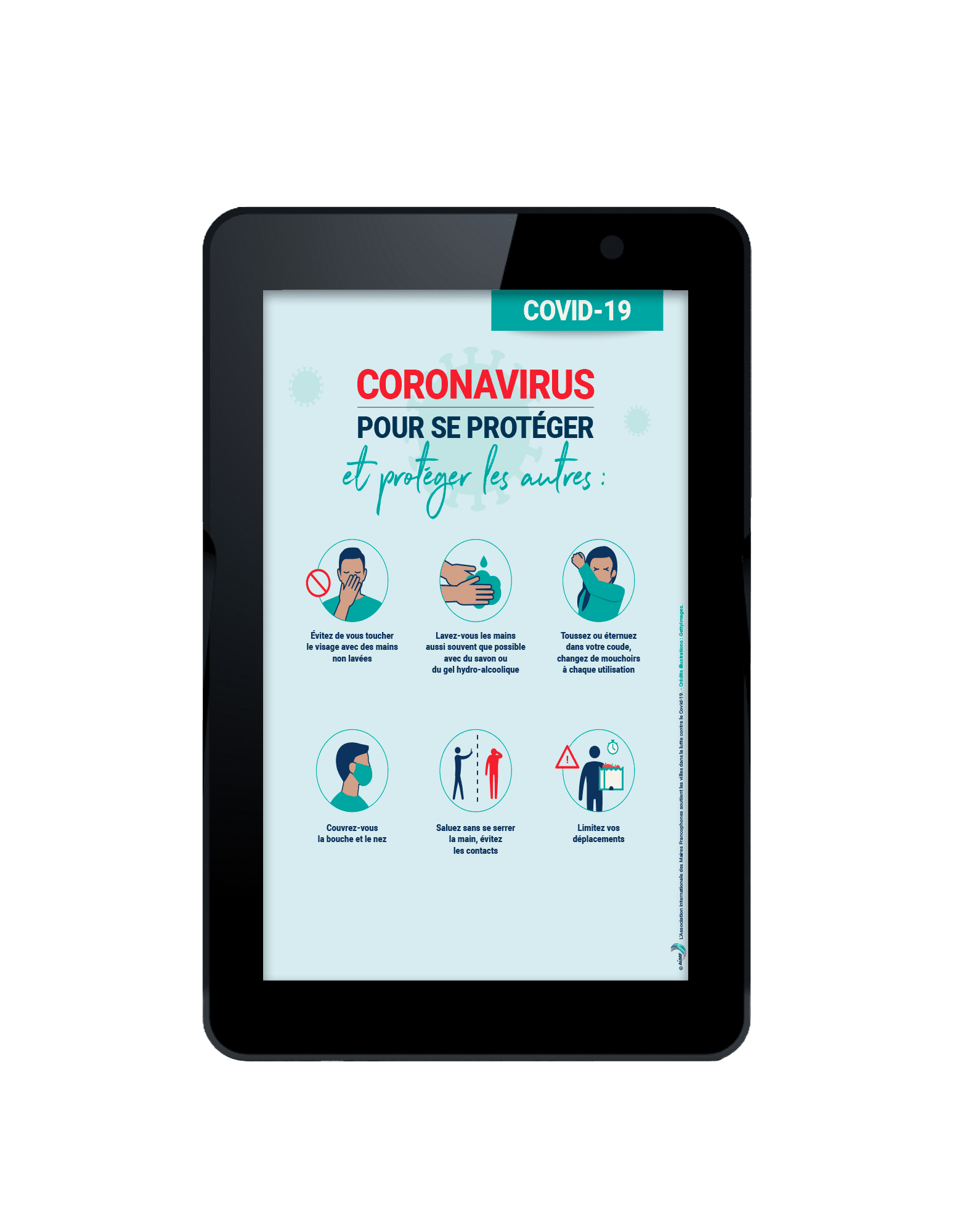tablette interactive dédiée au message sanitaire